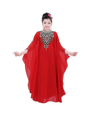 red georgette embroidered zari work kids kaftans