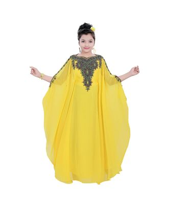 yellow georgette embroidered zari work kids kaftans