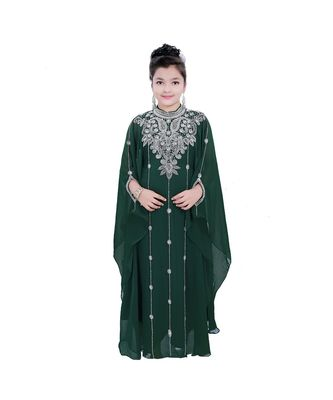 dark green georgette embroidered zari work kids kaftans