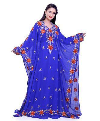 royal blue georgette embroidered zari work islamic kaftans