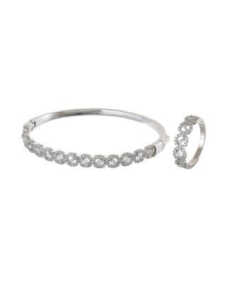 silver classy elegant diamond bracelet ring combo special for valentine
