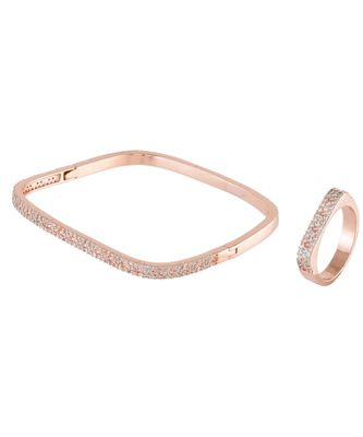 rose gold beautiful diamond square bracelet ring combo special gift for valentine
