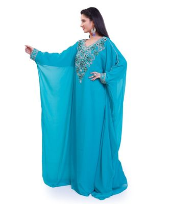 turquoise georgette embroidered zari work islamic kaftans