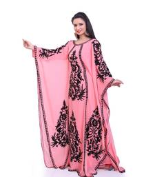 peach georgette embroidered zari work islamic kaftans