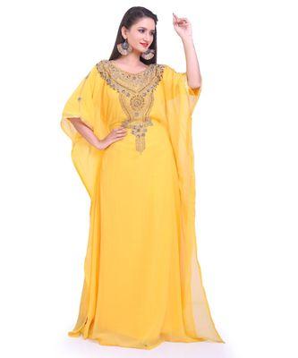 yellow georgette embroidered zari work islamic kaftans