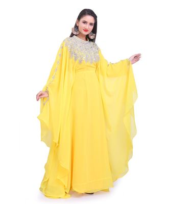 yellow georgette embroidered zari work islamic kaftans