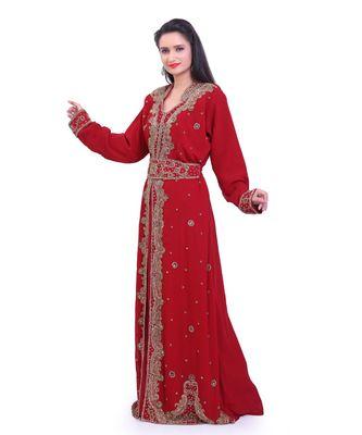 maroon georgette embroidered zari work islamic kaftans