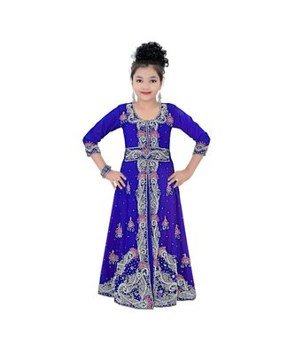 royal blue georgette embroidered zari work kids kaftans