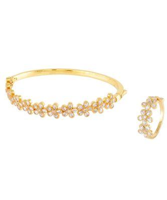 Golden Flower Design Diamond Bracelet Ring Combo Special Gift For Valentine