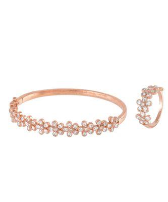 rose gold flower design diamond bracelet ring combo special gift for valentine