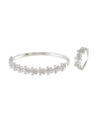 silver flower design diamond bracelet ring combo special gift for valentine