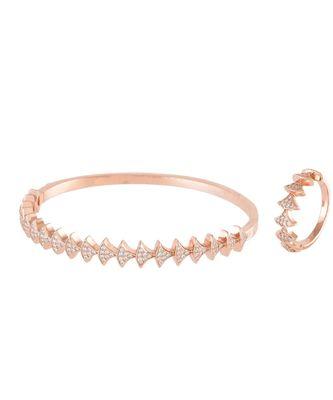rose gold stylish diamond bracelet ring combo special gift for valentine