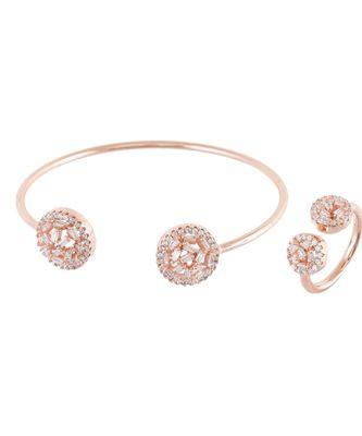rose gold elegant diamond bracelet ring combo special gift for valentine