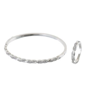 silver sweet n simble daimond bracelet ring combo special gift for valentine