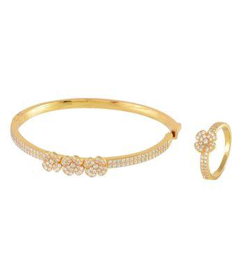Golden Beautiful Flower  Diamond Bracelet Ring Combo Special Gift For Valentine