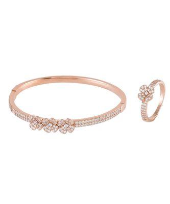 rosegold beautiful flower  diamond bracelet ring combo special gift for valentine