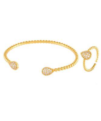 golden delicate daimond bracelet ring combo special gift for valentine