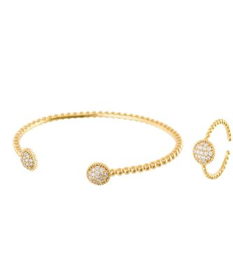 golden sweet n simple diamond bracelet ring combo special gift for valentine
