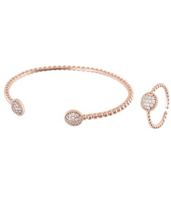 rosegold sweet n simple diamond bracelet ring combo special gift for valentine