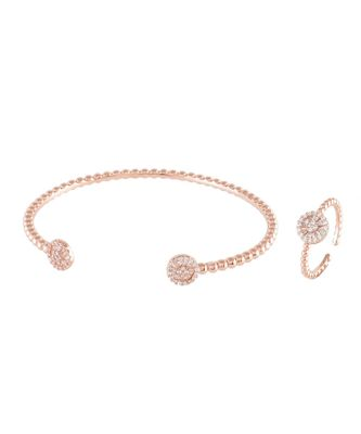 rosegold cute n elegant daimond bracelet ring combo special gift for valentine