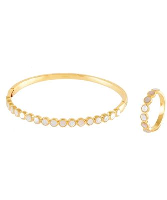 golden beautiful shell pearl elegant bracelet ring combo special for valentine