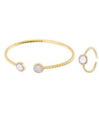 golden stylish shell pearl diamond bracelet ring combo special for valentine
