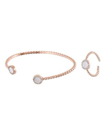 rosegold stylish shell pearl diamond bracelet ring combo special for valentine