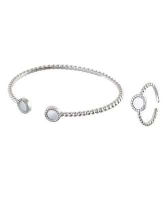 silver stylish shell pearl diamond bracelet ring combo special for valentine
