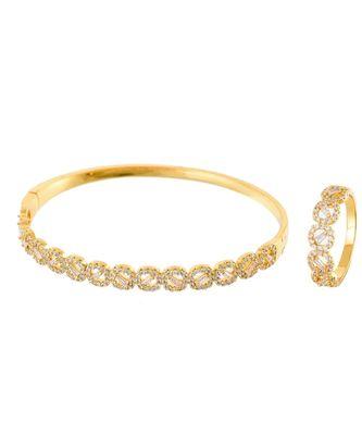 golden classy elegant diamond bracelet ring combo special for valentine