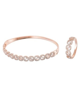 rosegold classy elegant diamond bracelet ring combo special for valentine