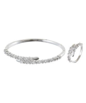silver royal classy diamond bracelet ring combo special for valentine