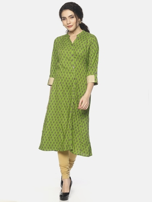 Green printed viscose ethnic-kurtis