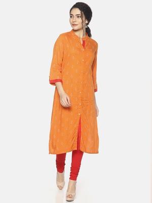 Orange printed viscose ethnic-kurtis