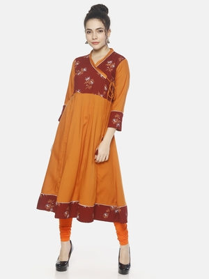 Orange printed rayon ethnic-kurtis