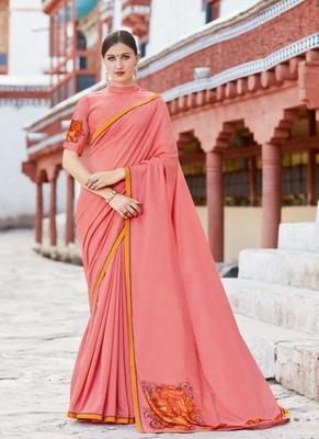 Light Pink Printed Chiffon Saree With Blouse