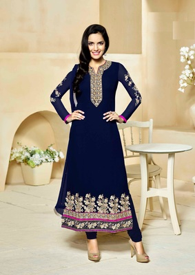 Dark-navy-blue embroidered silk salwar