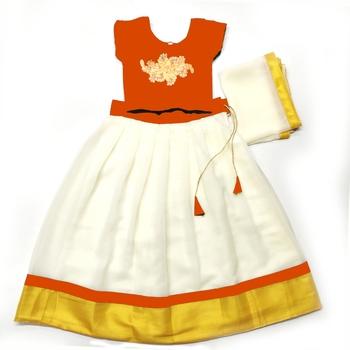Multicolor Plain Georgette Stitched Lehenga