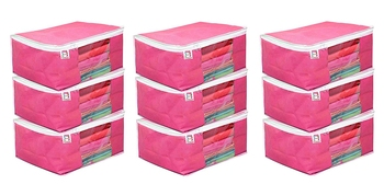 atorakushon Fabric9 Piece Saree Cover Clothes Storage Bags Garments Wardrobe Organiser (Pink)