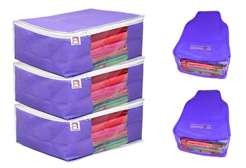 atorakushon® Fabric 3 Saree Cover and 2 Blouse Clothes Storage Bag Wardrobe Garments Organiser (blue)