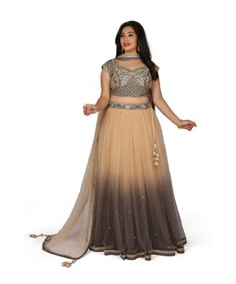 Gold Embroidered Net Readymade Lehenga Cholis