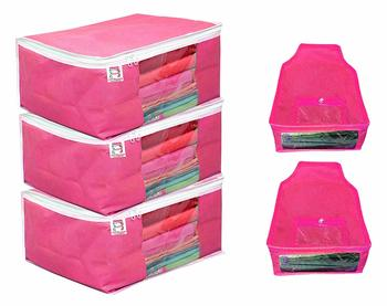 atorakushon® Fabric 3 Saree Cover and 2 Blouse Clothes Storage Bag Wardrobe Garments Organiser (Pink)