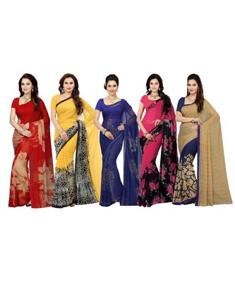 Combo of 5 Poly Georgette Multicolor Printed Women's Saree