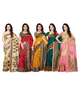 Combo of 5 Poly Silk Multicolor Printed Women's Saree/Sari With Blouse Piece
