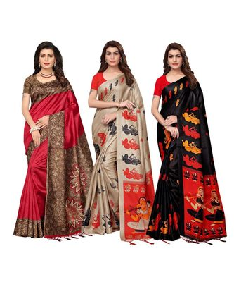 Combo Of 3 Poly Silk Multicolor Printed Women's Saree With Tassels