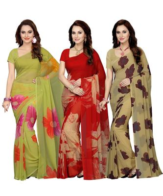 Combo of 3 Multicolor Poly Georgette Printed Women's Saree/Sari