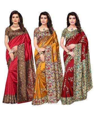 Combo of 3 Poly Silk Multicolor Printed Women's Saree/Sari With Blouse Piece