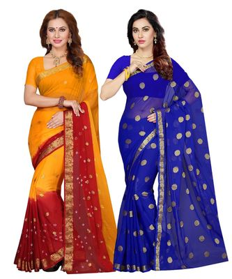 chiffon with Blouse Piece Saree (Pack of 2) (Combosr-2155_Multicolor_Free)