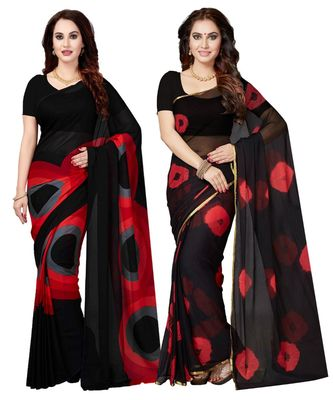 Combo Of 2 Poly Georgette Multicolor Printed Women's Saree