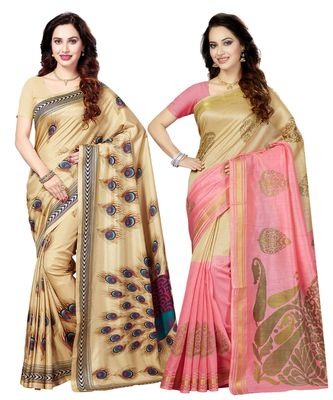 Combo of 2 Poly Silk Beige & Beige Women's Saree/Sari With Blouse Piece
