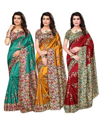 Combo of 3 Poly Silk Multicolor Printed Women's Saree/Sari With Blouse Piece